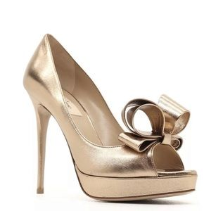 Valentino Gold Couture Bow Open Toe Pumps